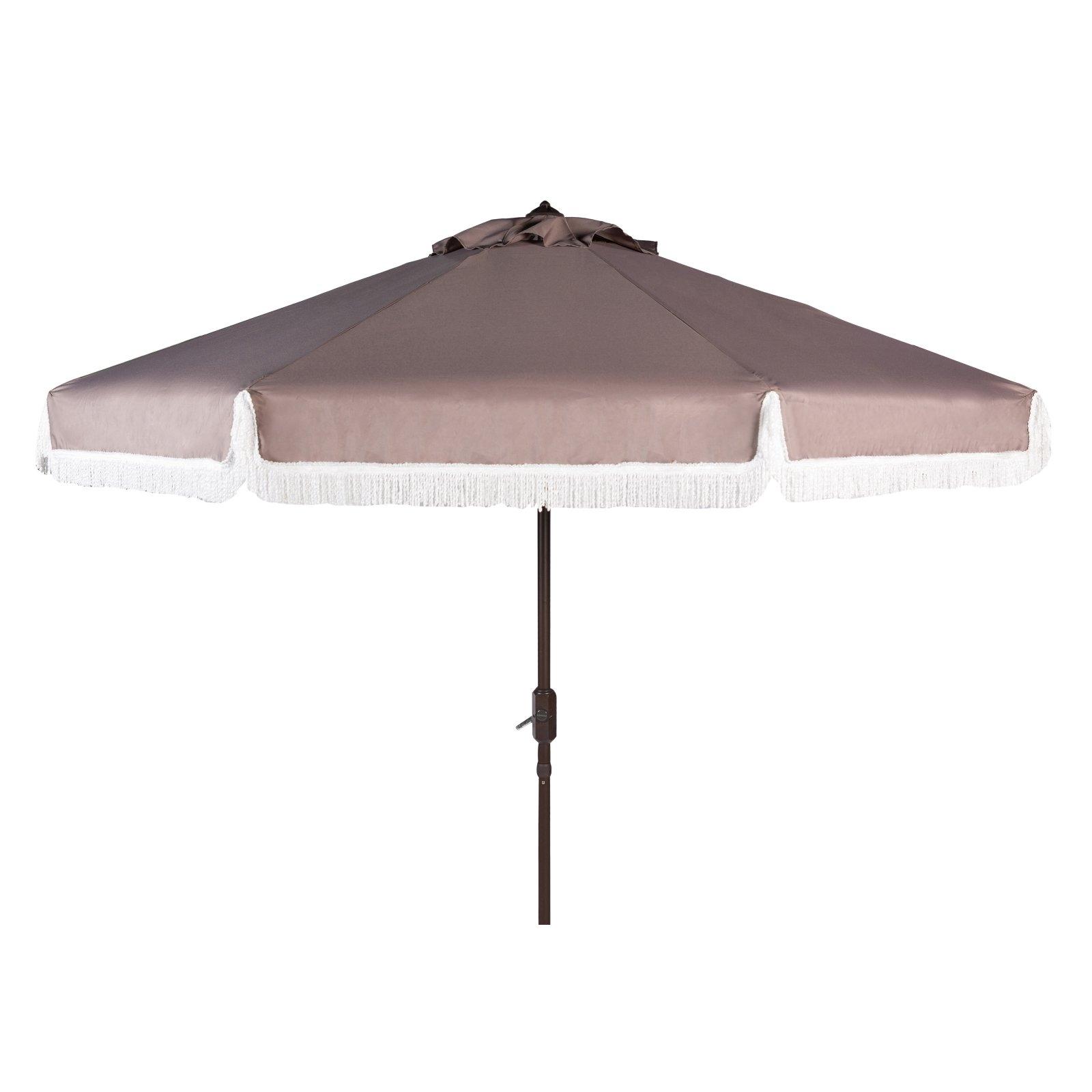 Safavieh Milan Fringe 9' Crank Outdoor Umbrella, Multiple Colors For Trendy Vinyl Patio Umbrellas With Fringe (View 13 of 20)