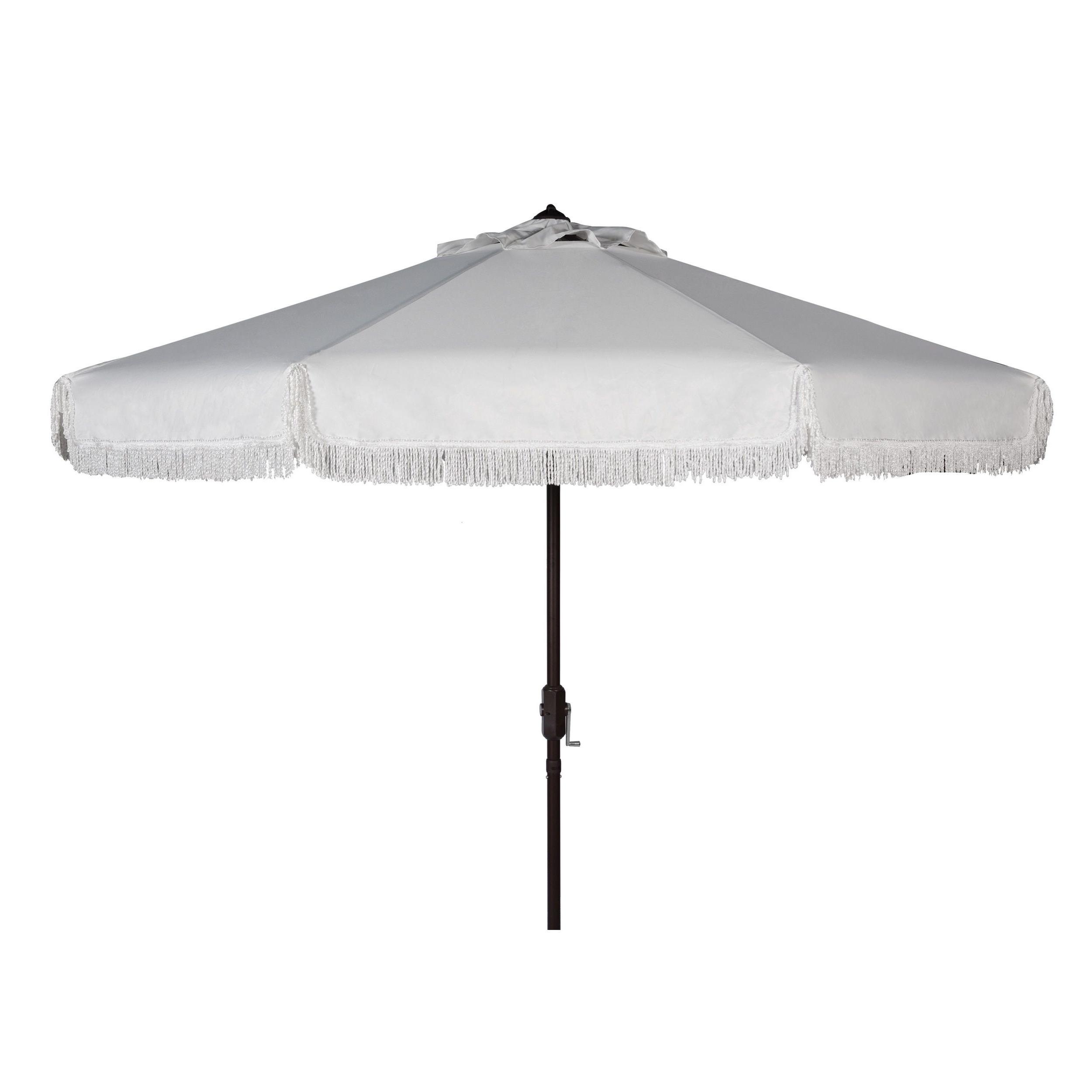 Safavieh Milan Fringe 9 Ft Crank White Outdoor Umbrella (pat8008c For Most Current White Patio Umbrellas (View 15 of 20)