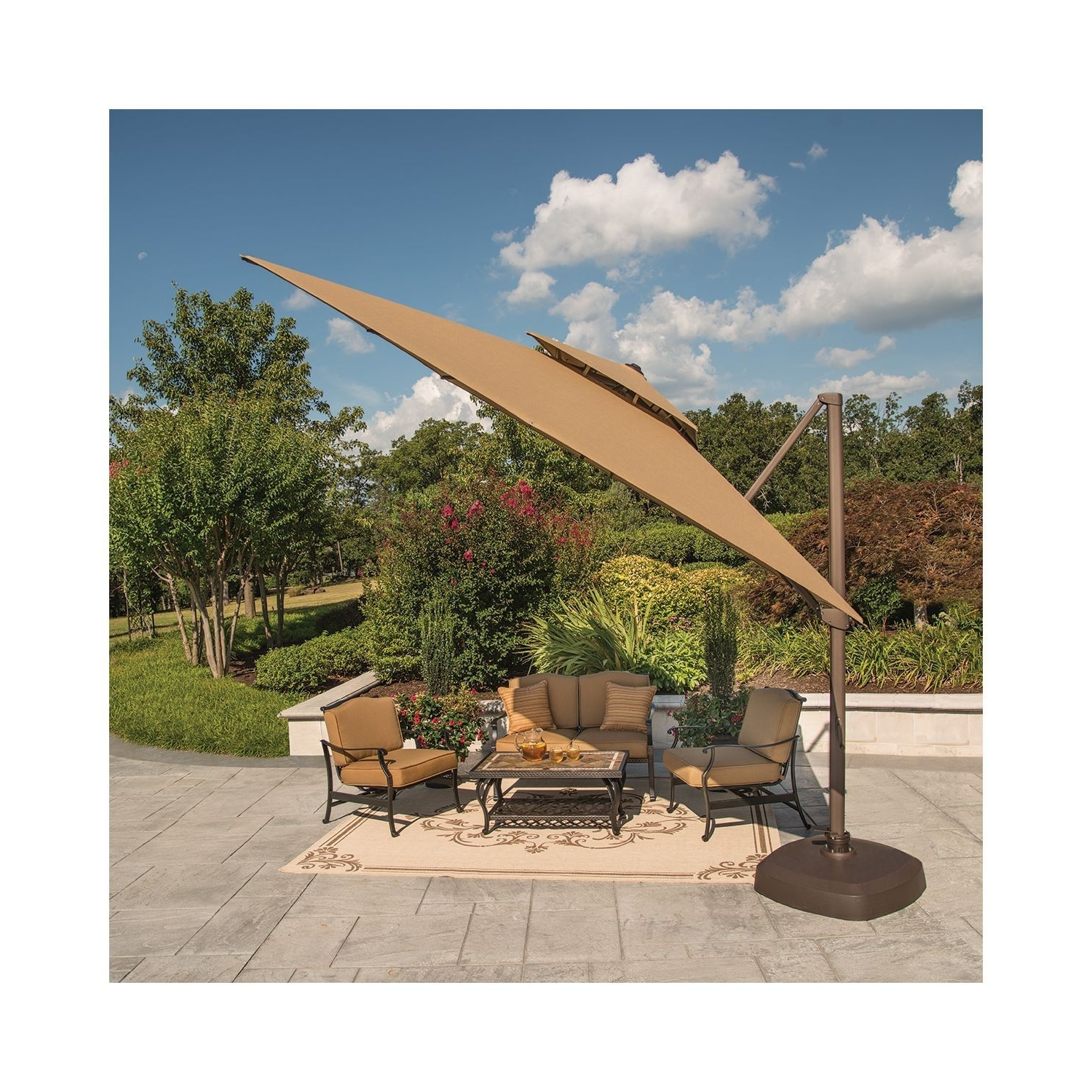 Sams Club Patio Umbrellas Within Well Known Member's Mark® 10 Foot Square Cantilever Umbrella With Premium (View 18 of 20)