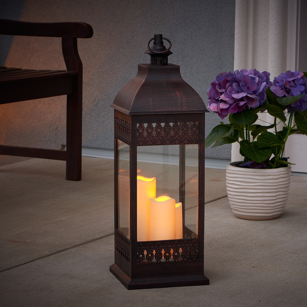 "San Nicola 28"" Triple Led Candle – Antique Bronze – Walmart Within Current Outdoor Lanterns With Battery Candles (View 17 of 20)"