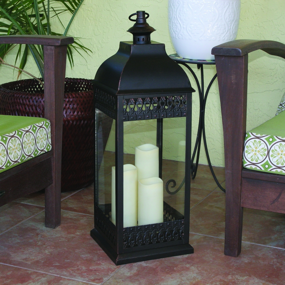 San Nicola Triple Led Candle Lantern With Regard To Current Outdoor Oversized Lanterns (View 18 of 20)