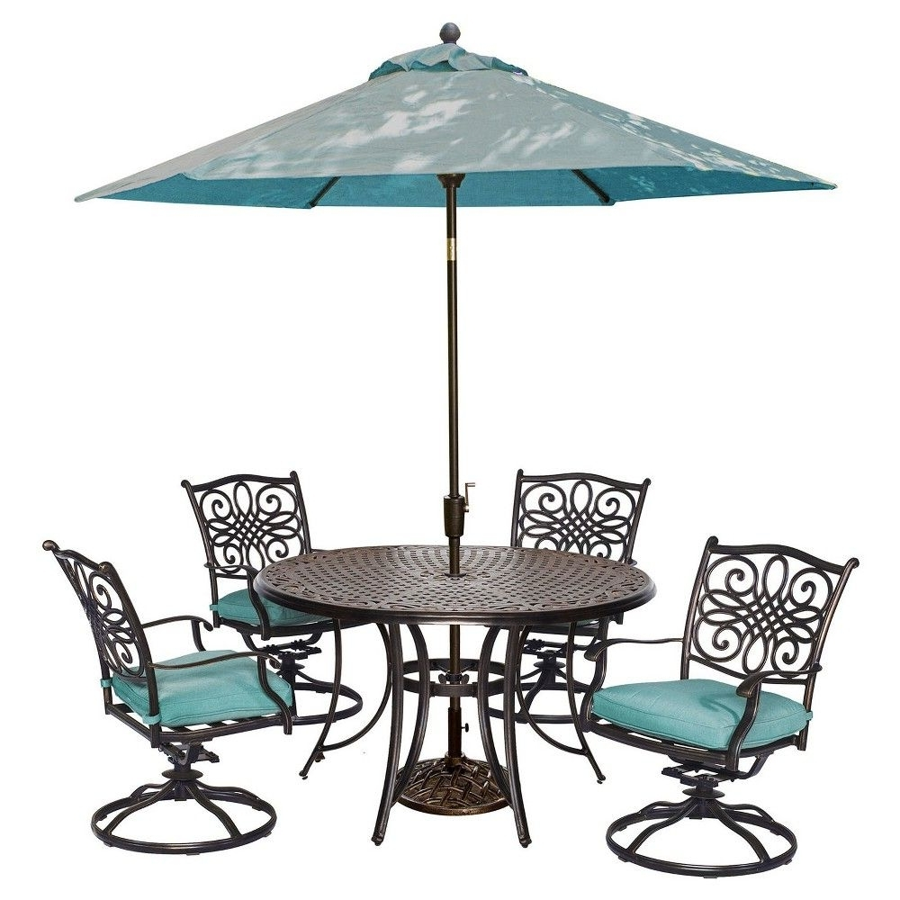 Seasons 5pc Round Metal Patio Dining Set With Swivel Rockers Throughout Most Recently Released Patio Dining Umbrellas (View 17 of 20)