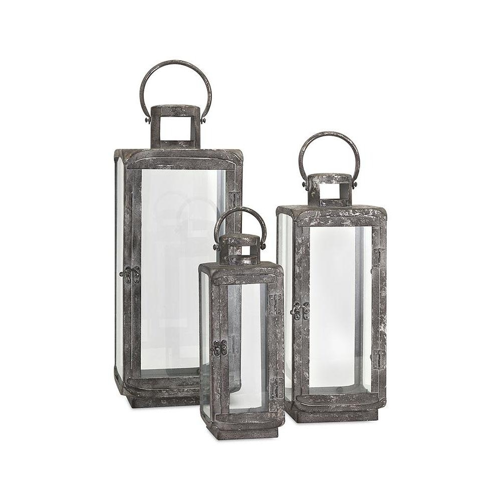 Set Of 3 Outdoor Lanterns Inside Popular Imax Ella Distressed Silver Metal Lanterns (3 Piece) 14234 3 – The (View 12 of 20)