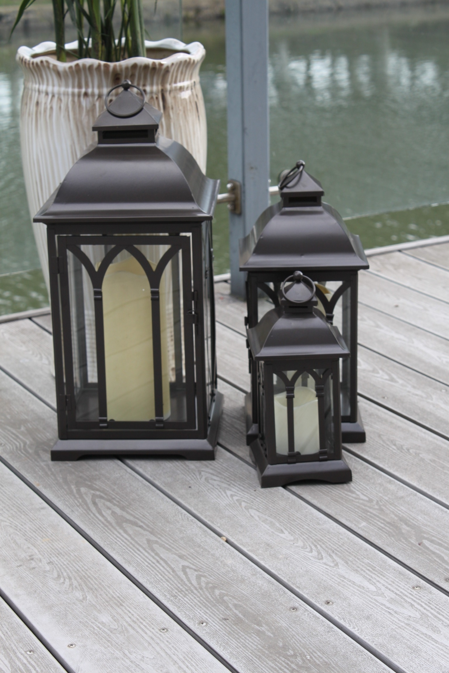 Set Of 3 Outdoor Lanterns Pertaining To Popular Exclusive Indoor Or Outdoor Set Of 3 Lombard Patio Lanterns (View 15 of 20)