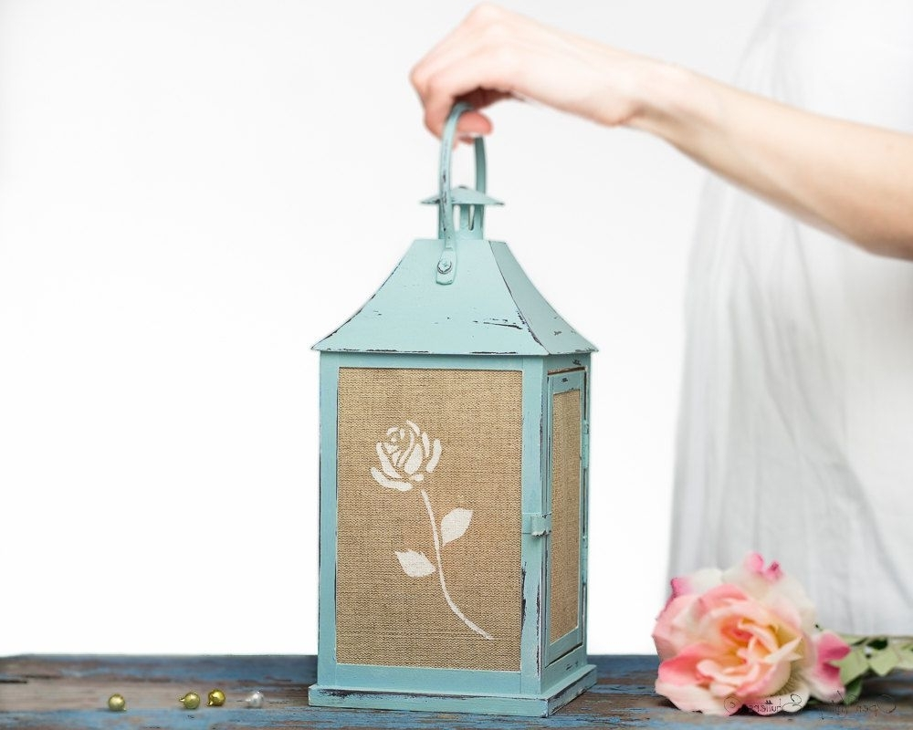 Shabby Chic Home Decor Home Decor Gift French Country Cottage Regarding Most Recently Released Blue Outdoor Lanterns (View 11 of 20)