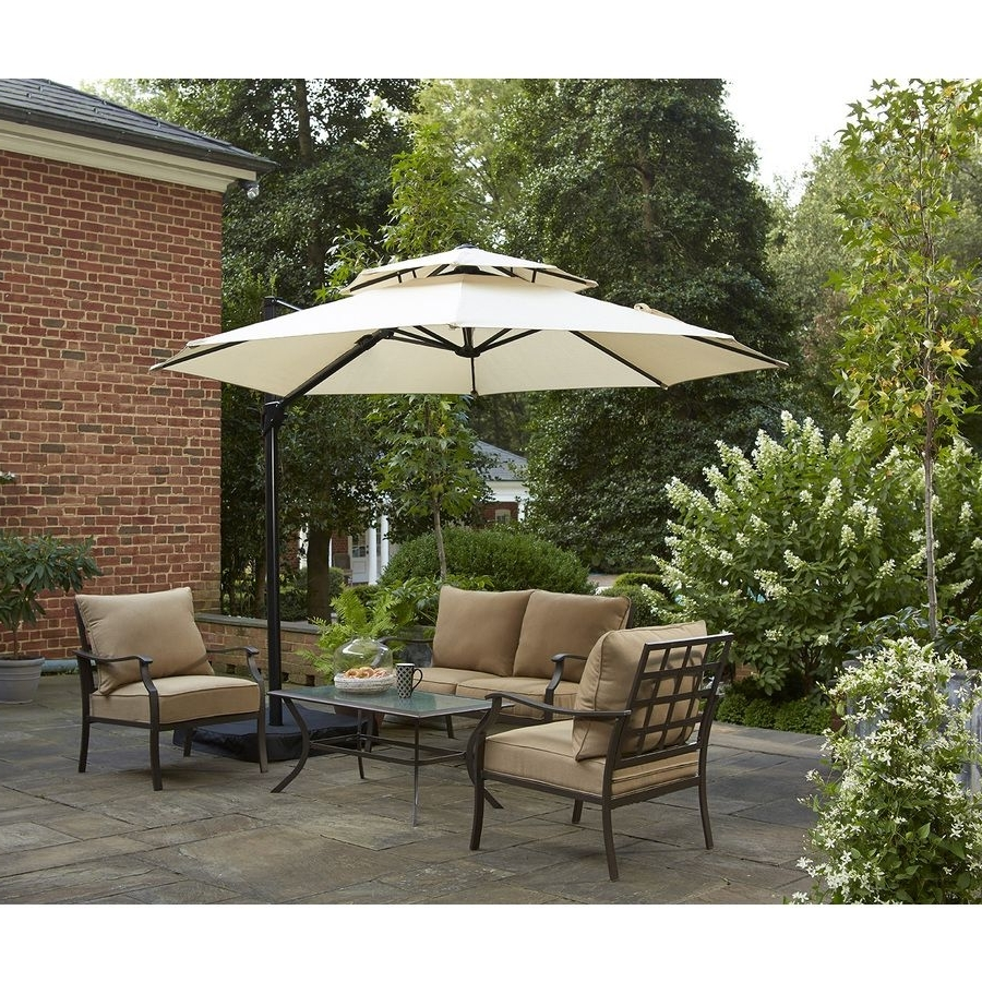 Shop Garden Treasures Round Tan Offset Umbrella With Crank (Common Regarding Best And Newest Lowes Cantilever Patio Umbrellas (View 19 of 20)