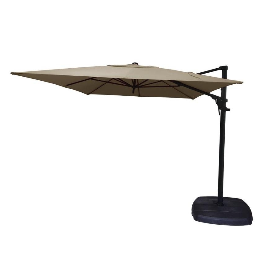Shop Simply Shade Tan Offset 11 Ft Patio Umbrella With Base At Lowes Intended For Most Up To Date Patio Umbrellas With Fans (View 18 of 20)