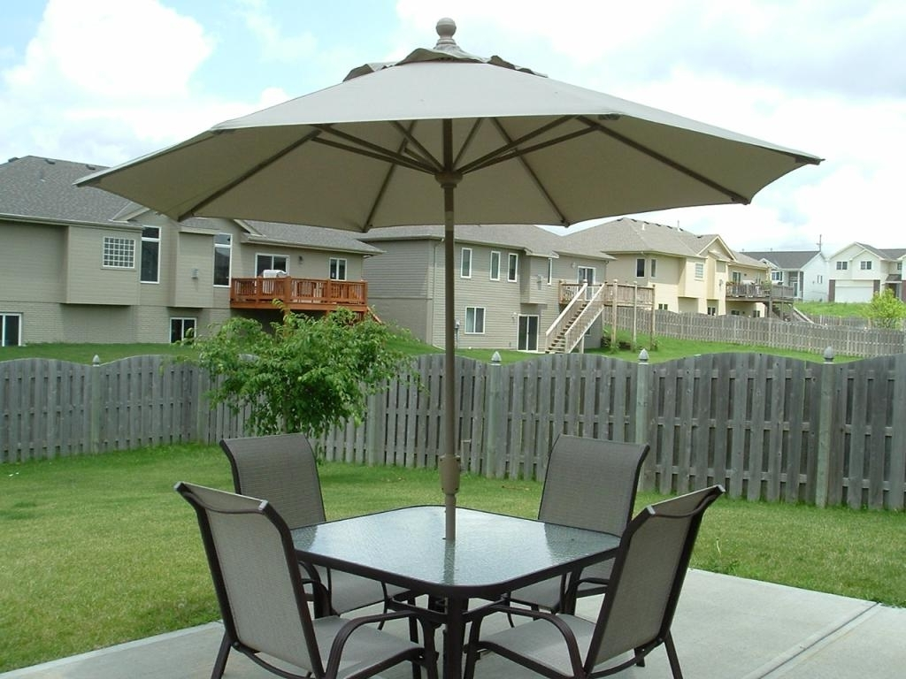 Small Patio Tables With Umbrellas Hole In Latest Patio: Astonishing Small Patio Set With Umbrella Umbrellas For Small (View 14 of 20)