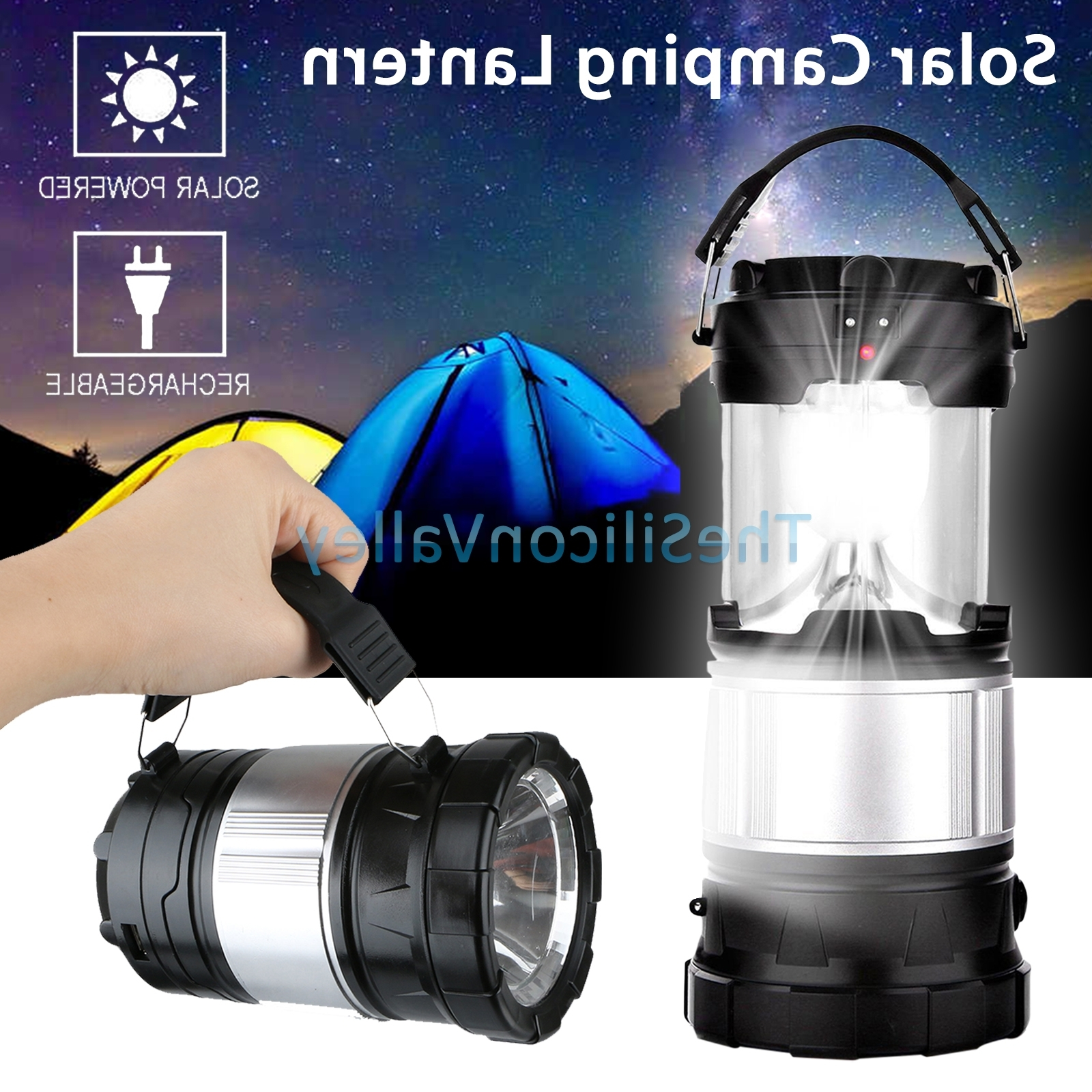 Solar Camping Lantern Lamp Portable Outdoor Rechargeable Led Tent In Fashionable Outdoor Rechargeable Lanterns (View 7 of 20)