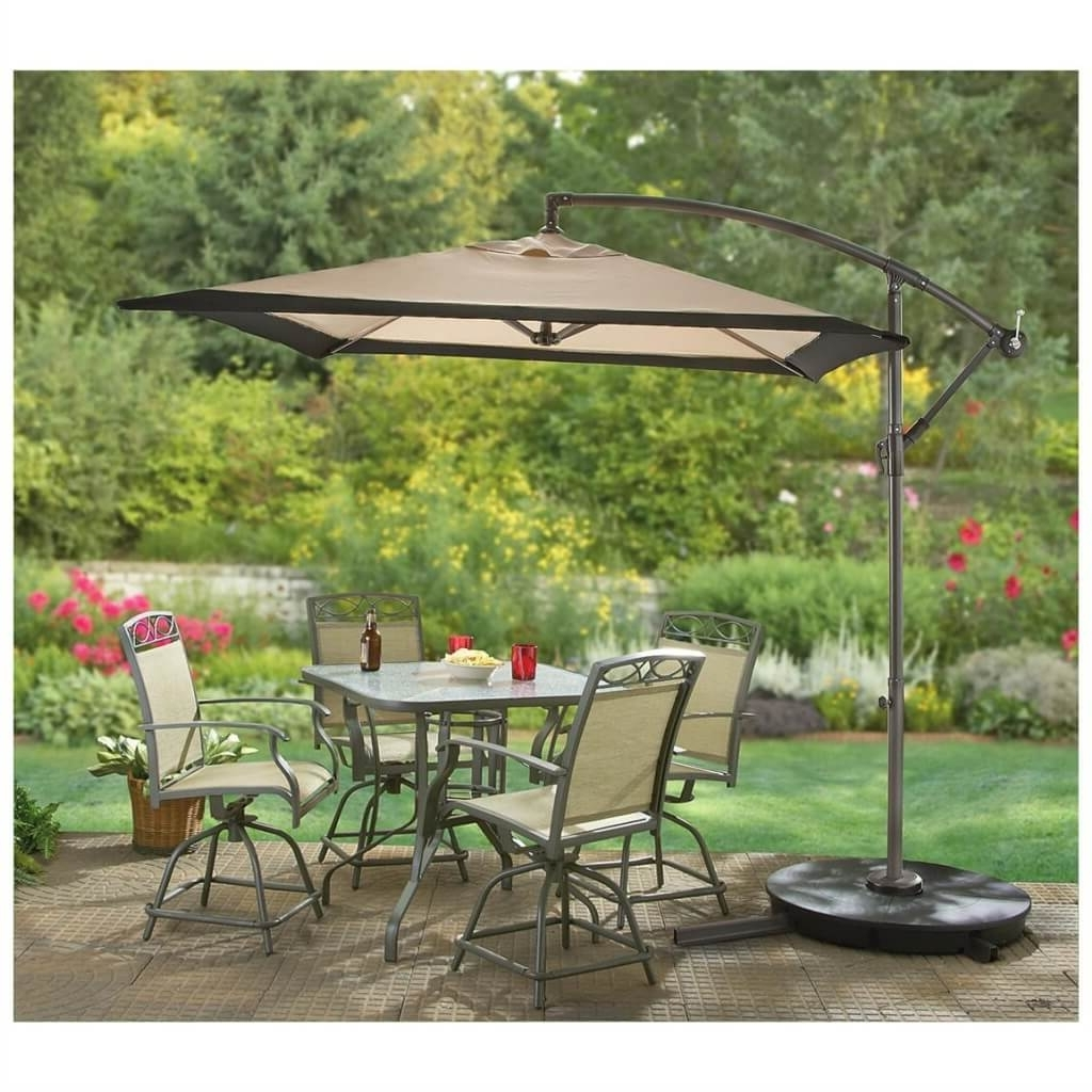 Square Cantilever Patio Umbrellas Regarding Most Up To Date Outdoor & Garden: Cantilever Patio Umbrella And Patio Table And (View 18 of 20)