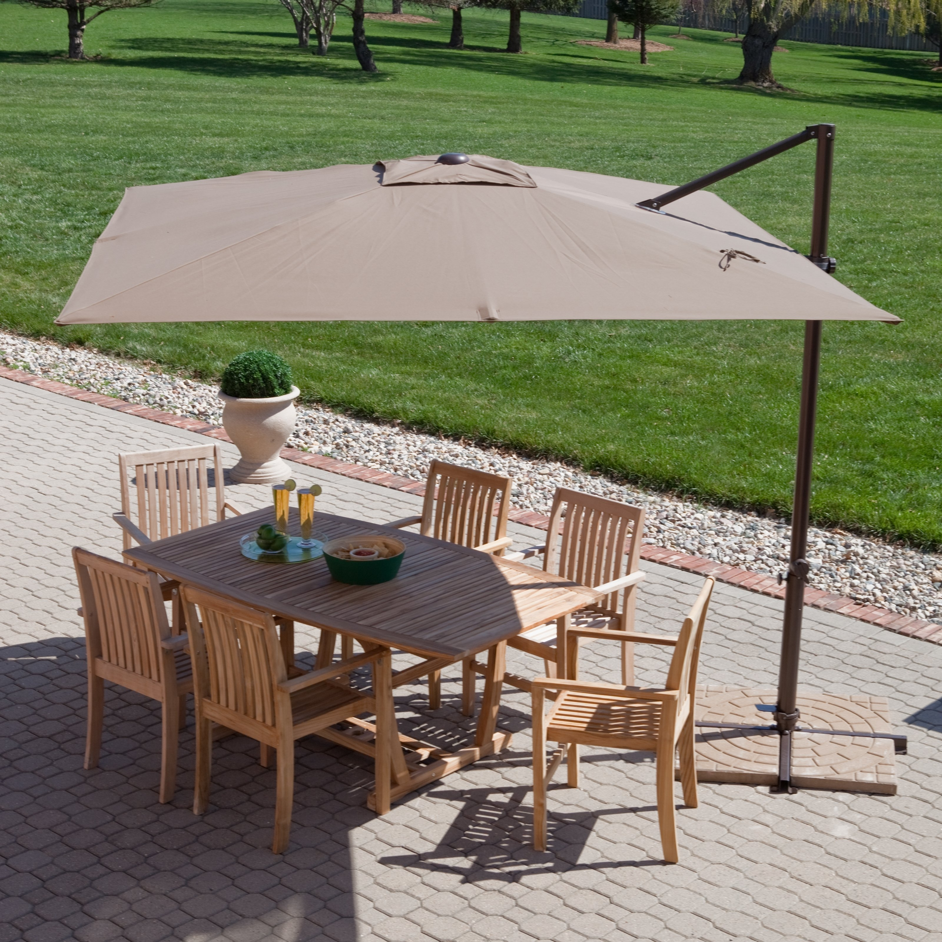 Square Mocha Fabric Patio Umbrella With Black Metal Base Over Brown For Most Popular Rectangle Patio Umbrellas (View 19 of 20)