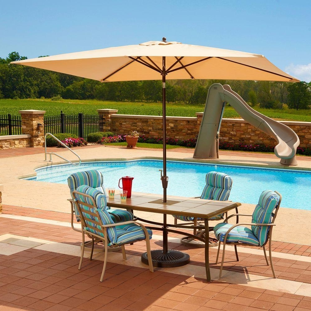 Striped Sunbrella Patio Umbrellas For Best And Newest Sunbrella Fabric – Market Umbrellas – Patio Umbrellas – The Home Depot (View 11 of 20)