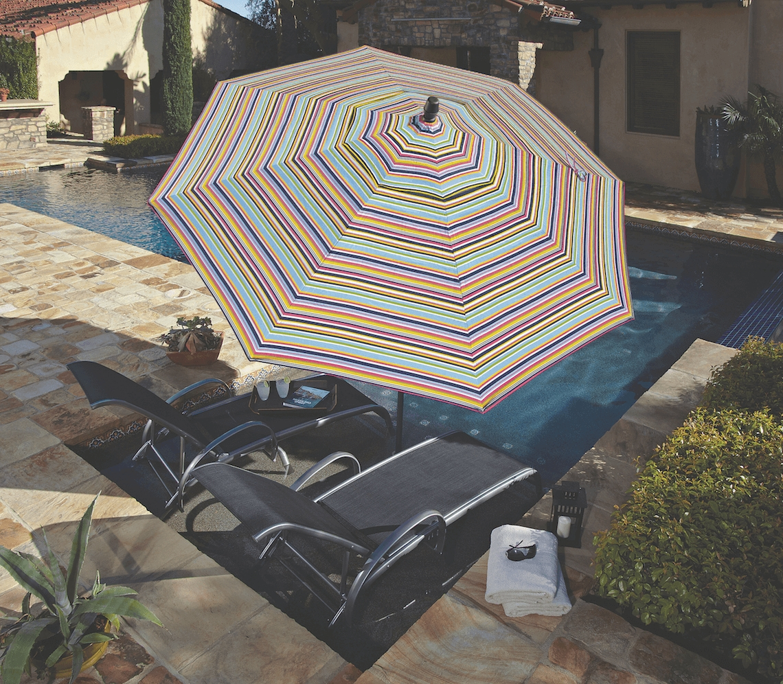Striped Sunbrella Patio Umbrellas Inside 2018 Made In The Shade: Patio Umbrellastreasure Garden – Kdrshowrooms (View 12 of 20)