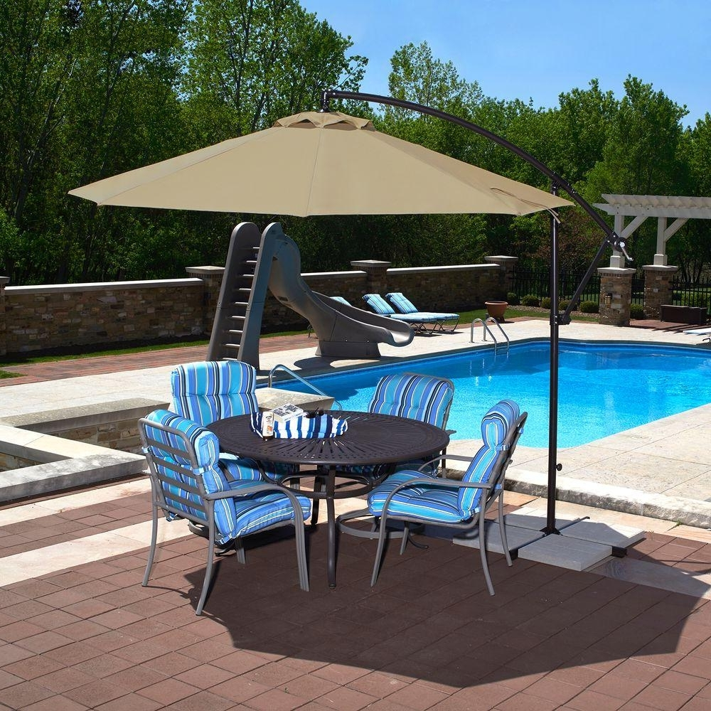 Striped Sunbrella Patio Umbrellas Regarding 2019 Cantilever Umbrellas – Patio Umbrellas – The Home Depot (View 6 of 20)
