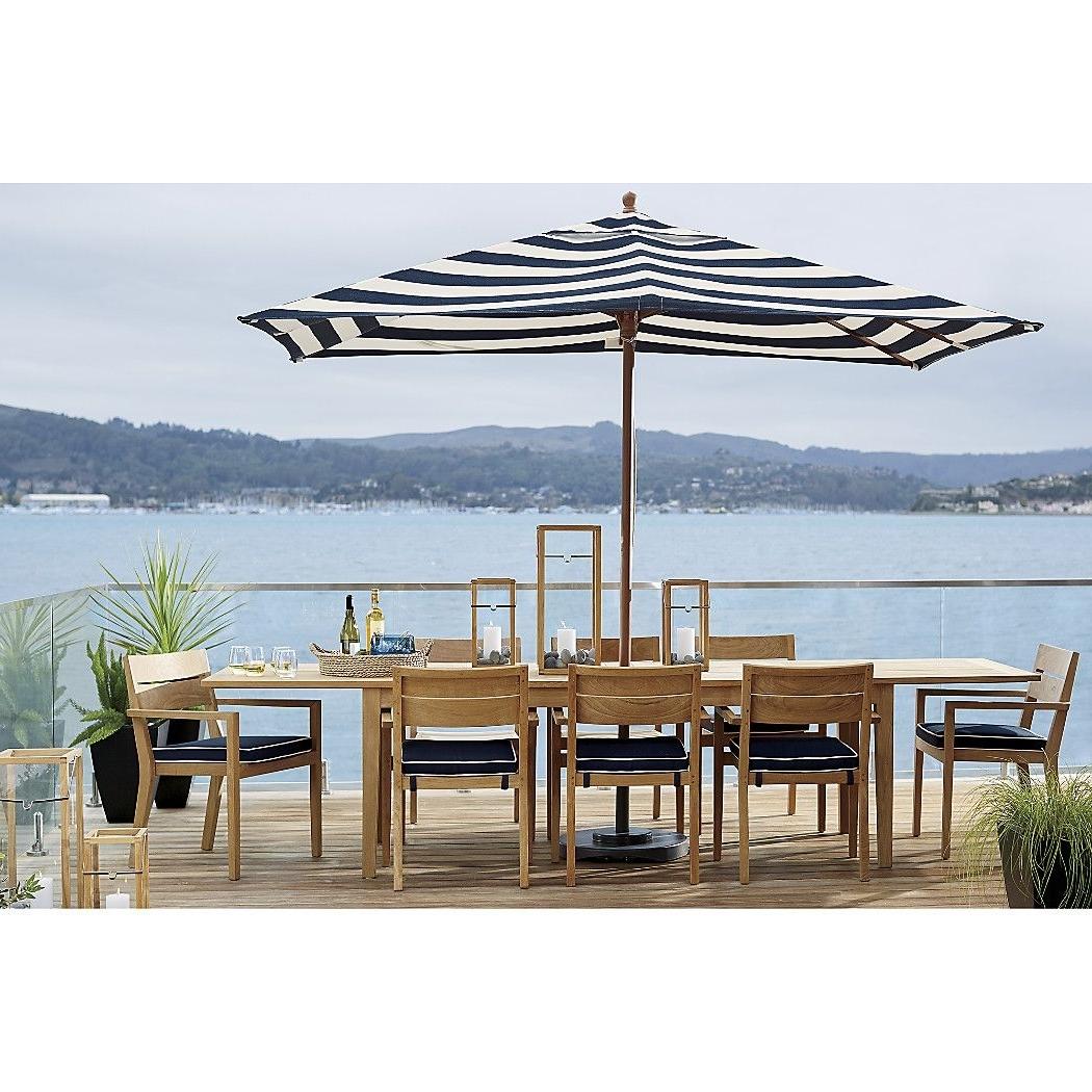 Sunbrella Outdoor Patio Umbrellas With Regard To Preferred Rectangular Sunbrella ® Cabana Stripe Navy Patio Umbrella With Black (View 15 of 20)