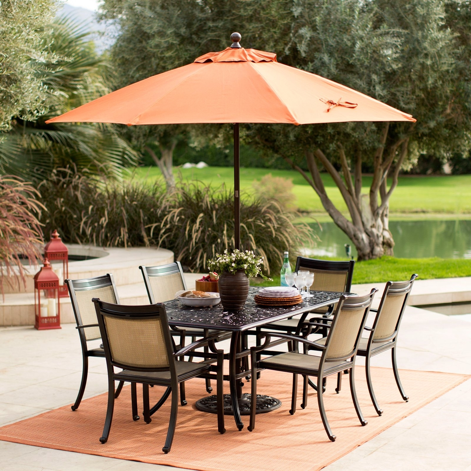 Sunbrella Patio Table Umbrellas In Recent Coral Coast 9 Ft (View 2 of 20)