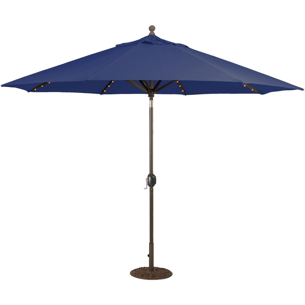 Sunbrella Patio Umbrella With Lights For Favorite Galtech 11 Ft (View 14 of 20)