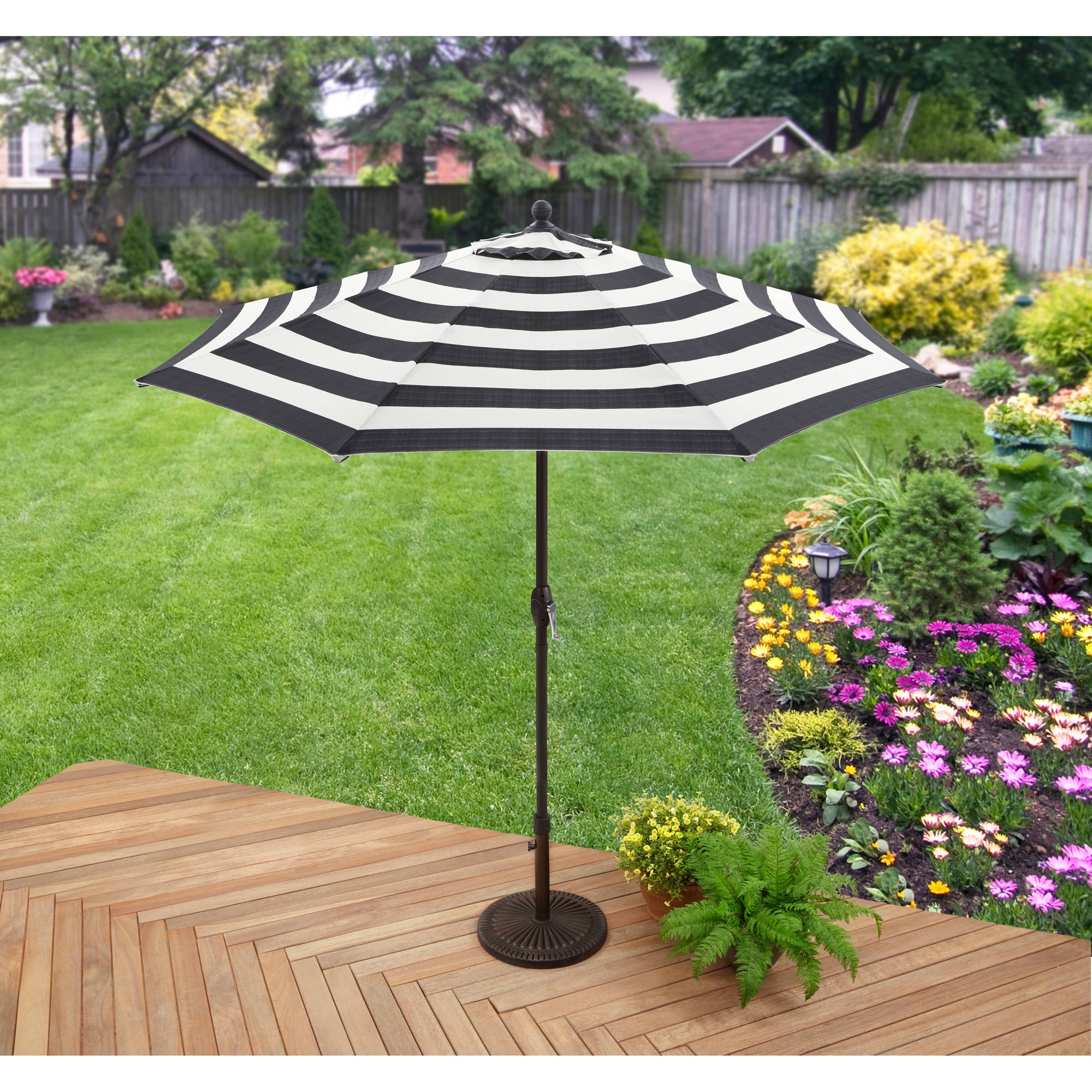 Sunbrella Patio Umbrellas At Walmart Inside Current Better Homes And Gardens 9' Market Umbrella, Cabana Stripe – Walmart (View 13 of 20)