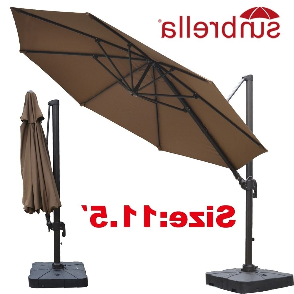 Sunbrella Patio Umbrellas Intended For Trendy Trendy Beige Sunbrella Acrylic Island Umbrella Santorini Ii Square (View 14 of 20)
