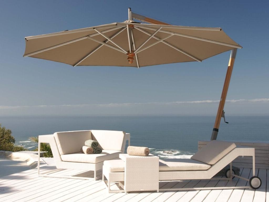 Sunbrella Patio Umbrellas Throughout Famous Outdoor & Garden: Vanilla Cantilever Patio Umbrella Sunbrella With (View 16 of 20)