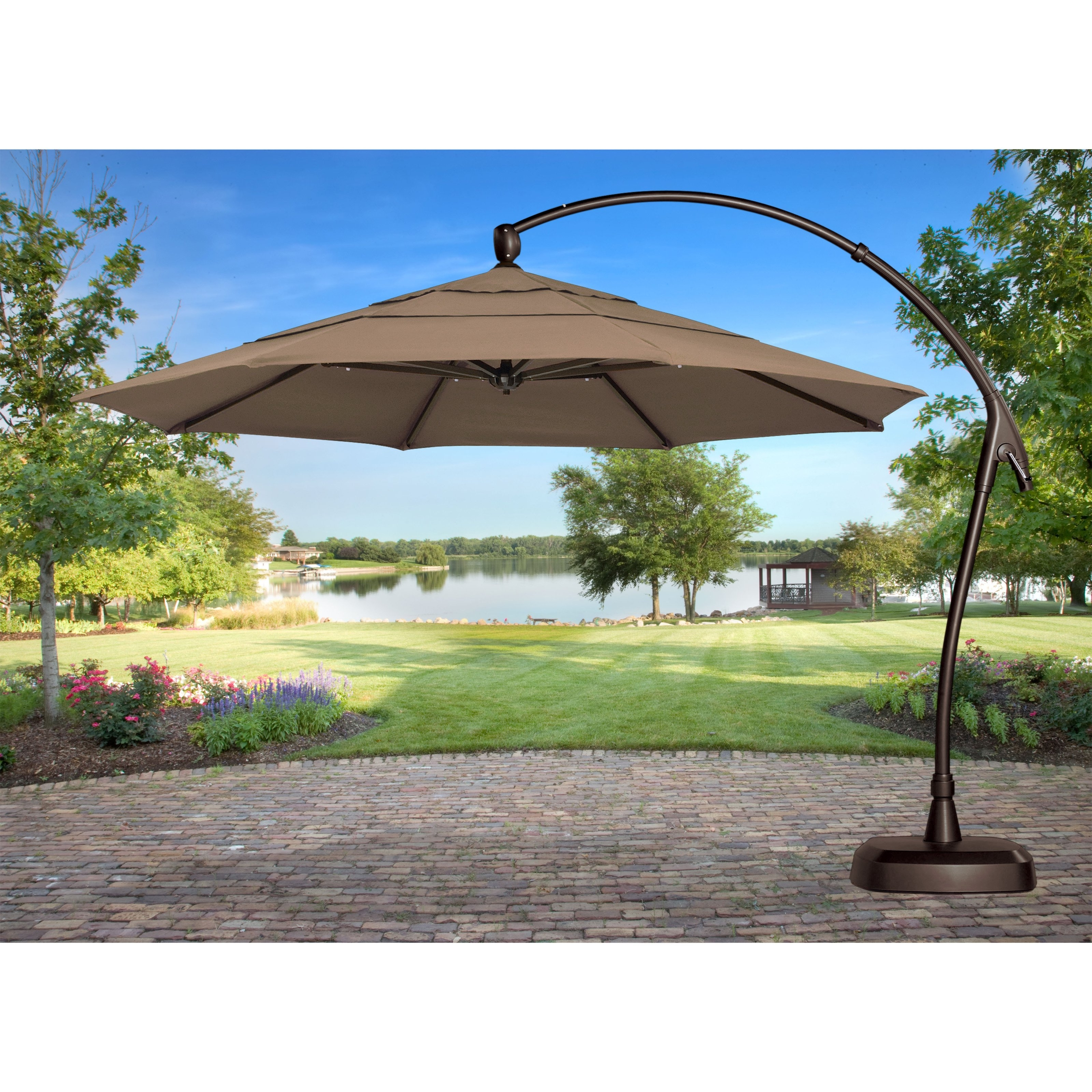 Sunbrella Patio Umbrellas With Solar Lights For Most Recent Treasure Garden 11 Ft (View 10 of 20)