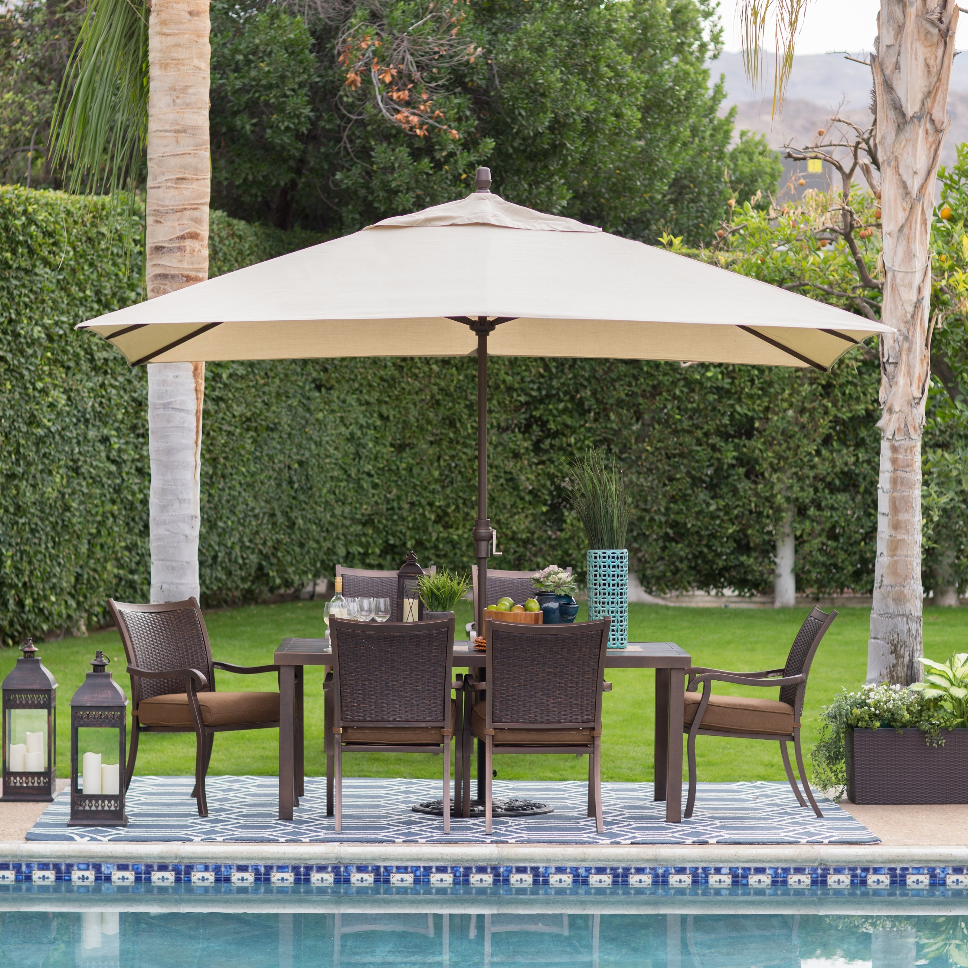 Sunbrella Patio Umbrellas With Solar Lights Inside Well Liked Coral Coast 8 X 11 Ft (View 12 of 20)