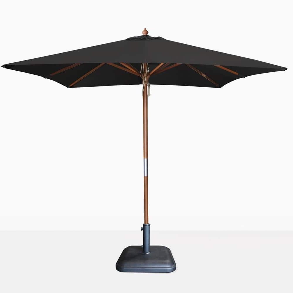 Sunbrella Teak Umbrellas Intended For Current Dixon Sunbrella Square Black Patio Umbrella (View 20 of 20)