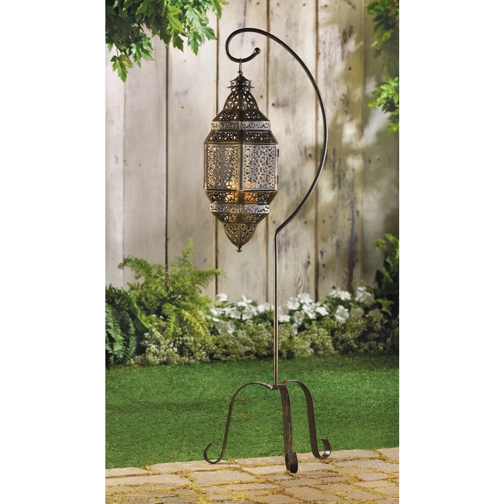 Tall Iron Moroccan Standing Metal Candle Lantern Stand, Best Decor In Widely Used Outdoor Lanterns On Stands (View 18 of 20)
