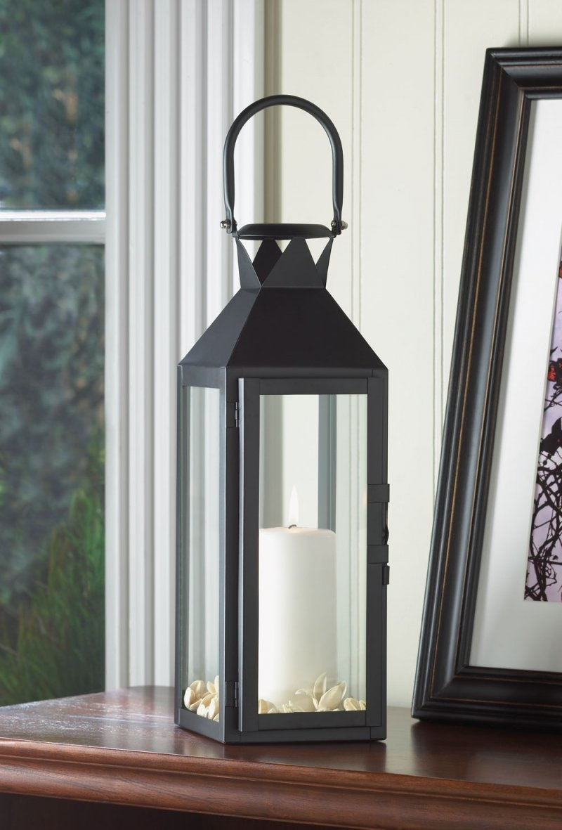 Tall Outdoor Lanterns Intended For Fashionable Black Contemporary Manhattan Pillar Candle Lantern Use Indoor Or Outdoor (Gallery 7 of 20)