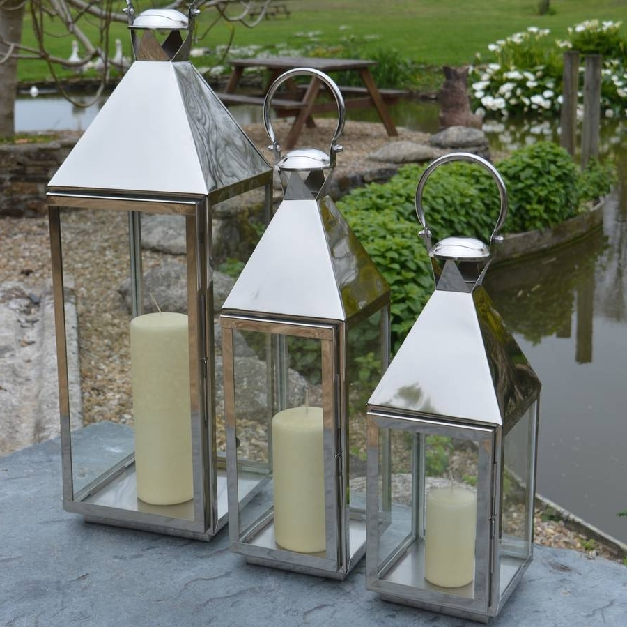 Tall Stainless Steel Garden Candle Lanternza Za Homes With Regard To Recent Silver Outdoor Lanterns (View 19 of 20)