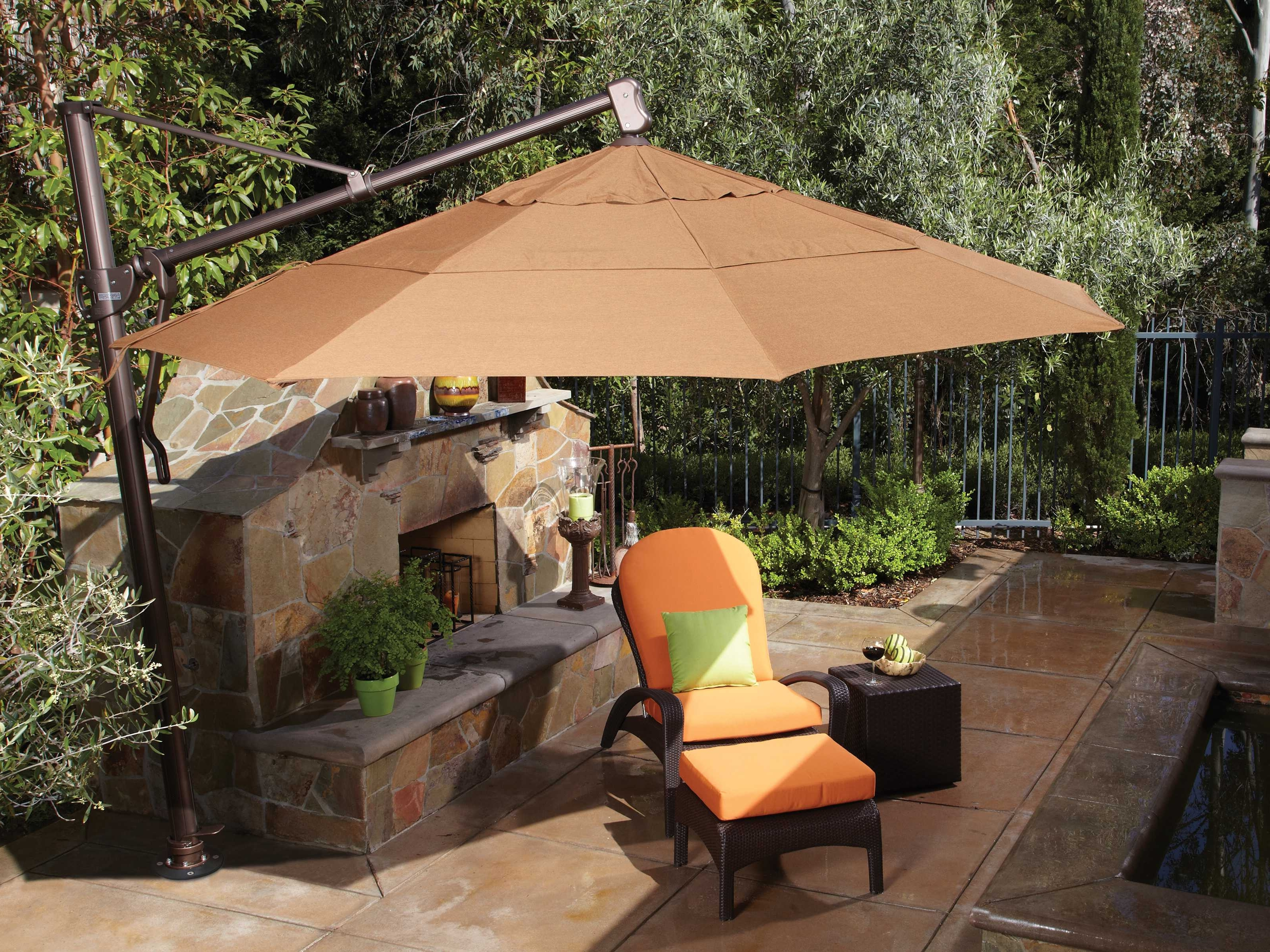 Treasure Garden Cantilever Aluminum 11' Foot Wide Crank Lift Tilt With Regard To Most Current Patio Umbrella Covers (View 14 of 20)