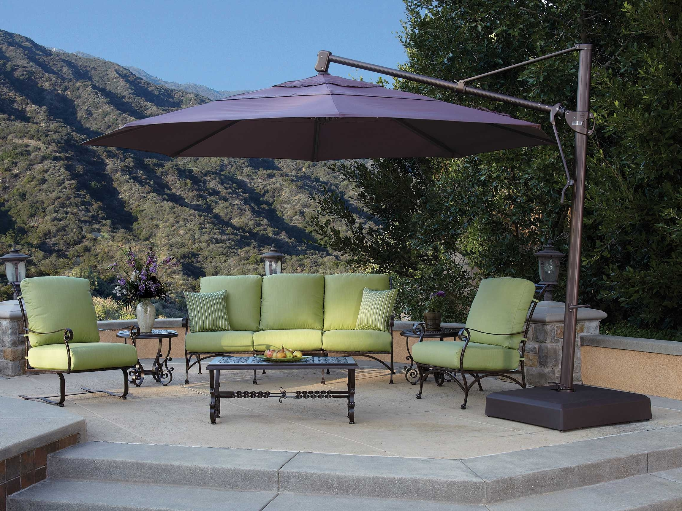 Treasure Garden Cantilever Aluminum 13 Foot Wide Crank Lift Tilt Throughout Well Liked Cantilever Patio Umbrellas (View 9 of 20)