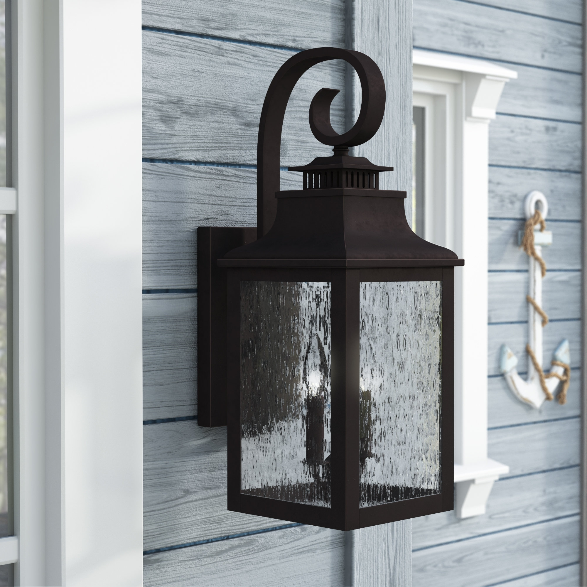 Trendy Breakwater Bay Wolcott 2 Light Led Outdoor Wall Lantern & Reviews With Outdoor Oversized Lanterns (View 19 of 20)