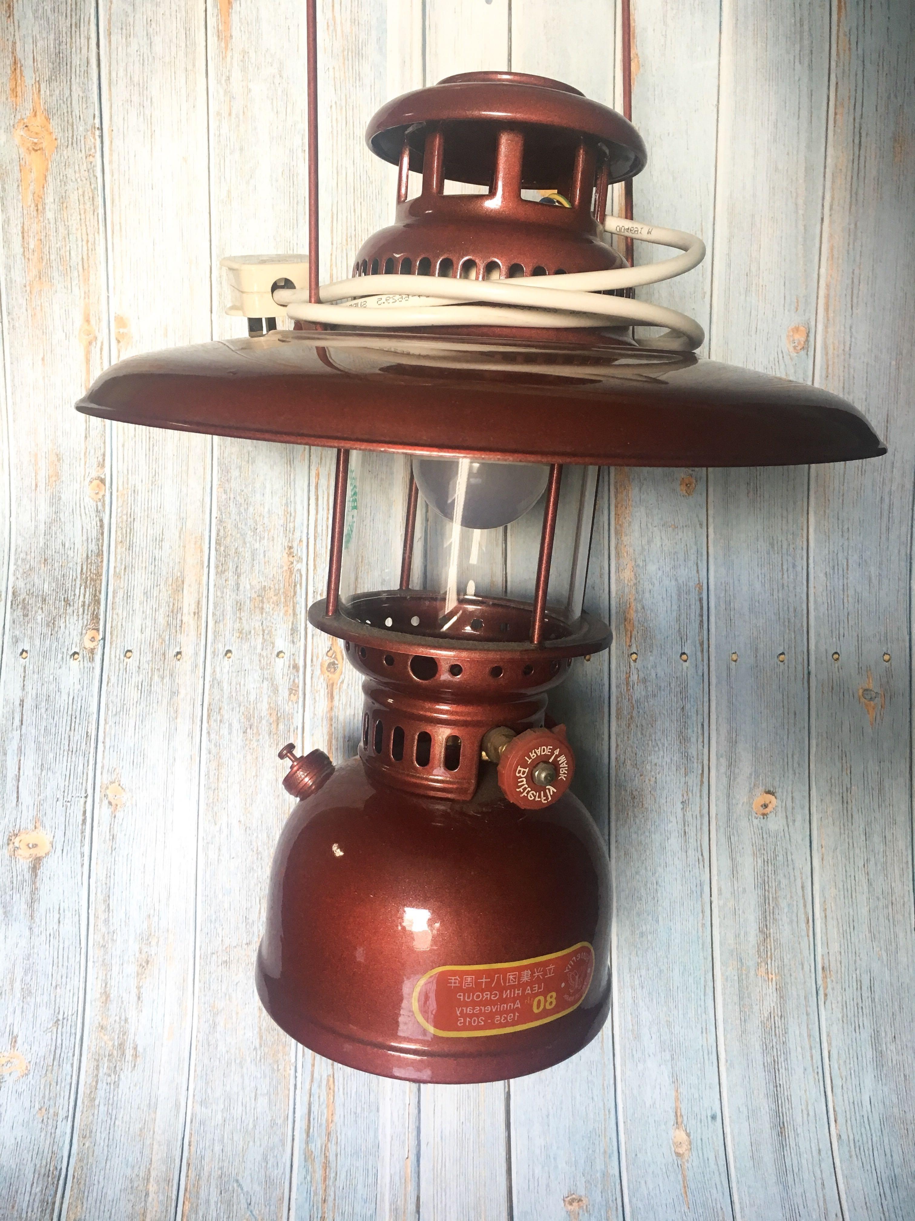Trendy Can Nego* Vintage Kerosene Lamp Maroon Antique With Led Light Bulb Pertaining To Decorative Outdoor Kerosene Lanterns (View 13 of 20)