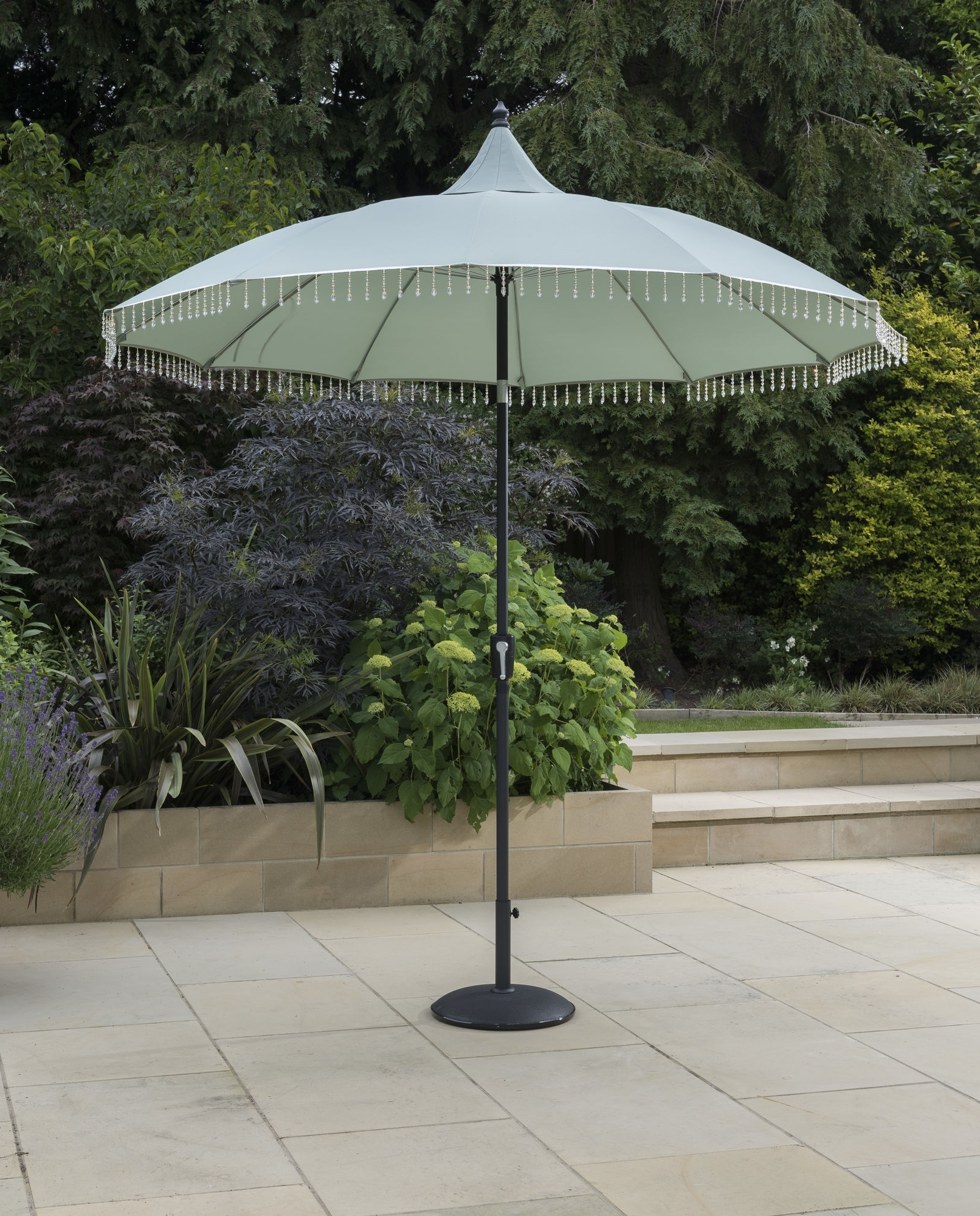 Trendy Exotic Fringed Garden Parasol (View 7 of 20)
