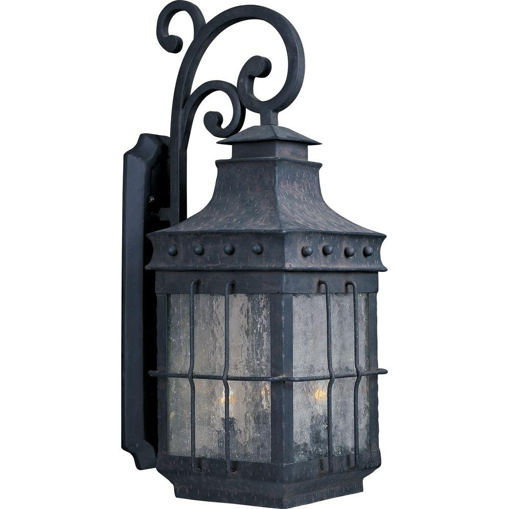 Trendy Maxim Lighting Nantucket 3 Light Country Forge Outdoor Wall Mount Regarding Nantucket Outdoor Lanterns (View 8 of 20)