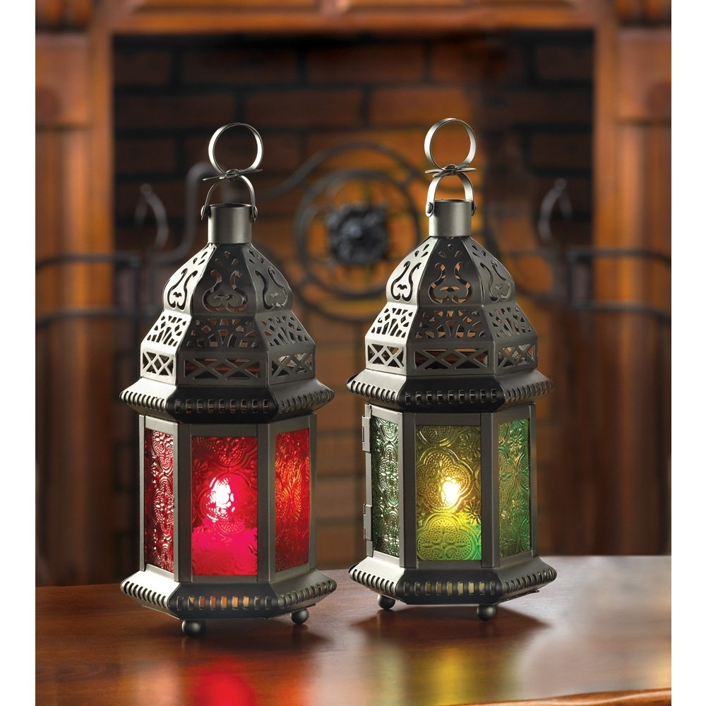 Trendy Moroccan Outdoor Lanterns Pertaining To Moroccan Lantern Lamp, Green Glass Large Outdoor Lanterns For (View 18 of 20)