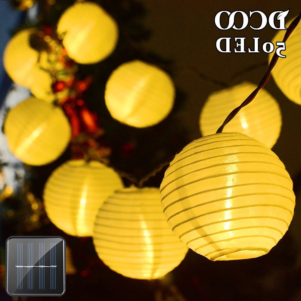 Trendy Outdoor Ball Lanterns For Solar Lanterns String Lights 20 Led Fabric Ball Fairy Christmas (View 18 of 20)