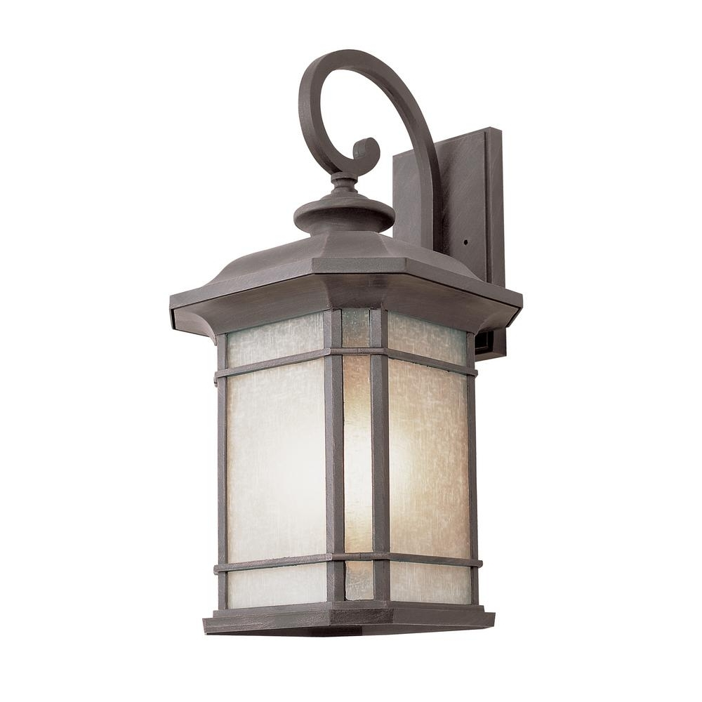 Trendy Outdoor Glass Lanterns For Bel Air Lighting 1 Light Fluorescent Outdoor Rust With Tea Stained (View 2 of 20)