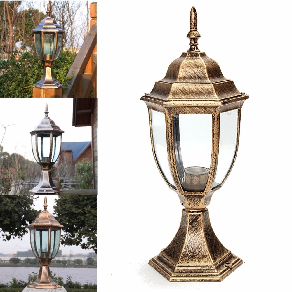 Trendy Outdoor Lanterns For Pillars Within Columbia Outdoor Lights For Pillars Black/bronze Aluminum Post Light (View 19 of 20)