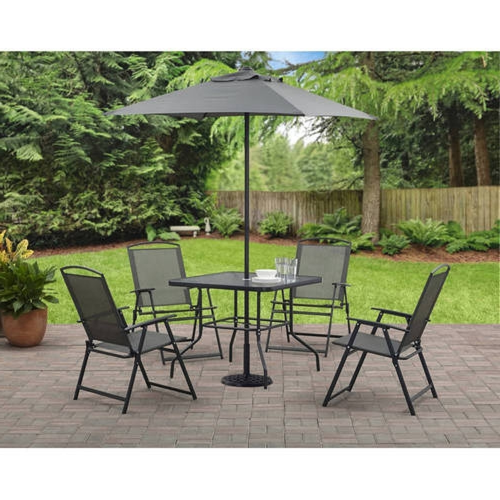 Trendy Patio Table And Chairs With Umbrellas With Regard To Durango 6 Piece Patio Set (Includes Dining Table, Chairs & Umbrella (View 20 of 20)