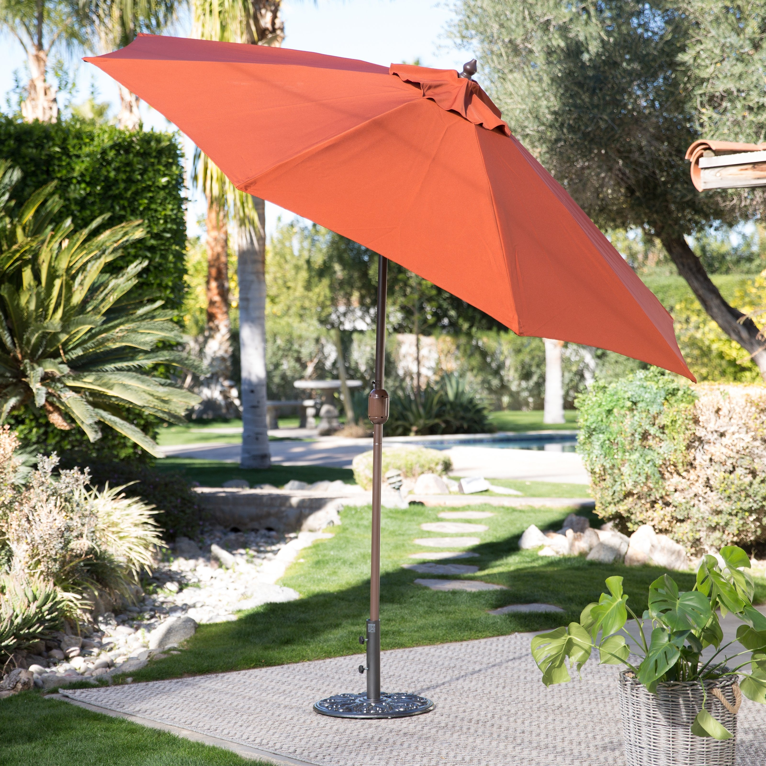 Trendy Patio Umbrellas For Windy Locations Pertaining To Coral Coast 9 Ft.  Spun Poly Push