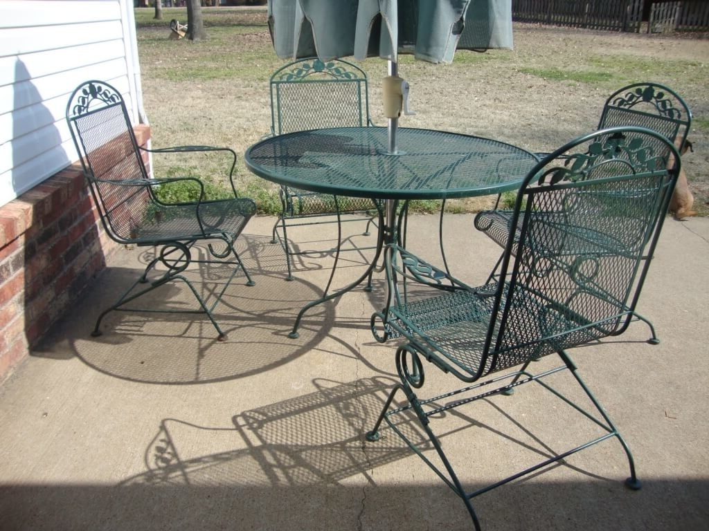 Trendy Vintage Patio Umbrellas For Sale Within Furniture: 4 Piece Wrought Iron Woodard Patio Furniture With (View 7 of 20)