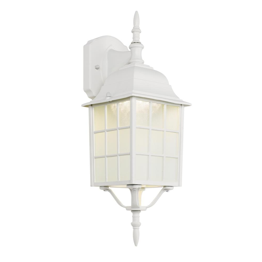 Trendy White Outdoor Lanterns Throughout Hampton Bay White Outdoor Led Wall Lantern 4420 1Wht Led – The Home (View 9 of 20)