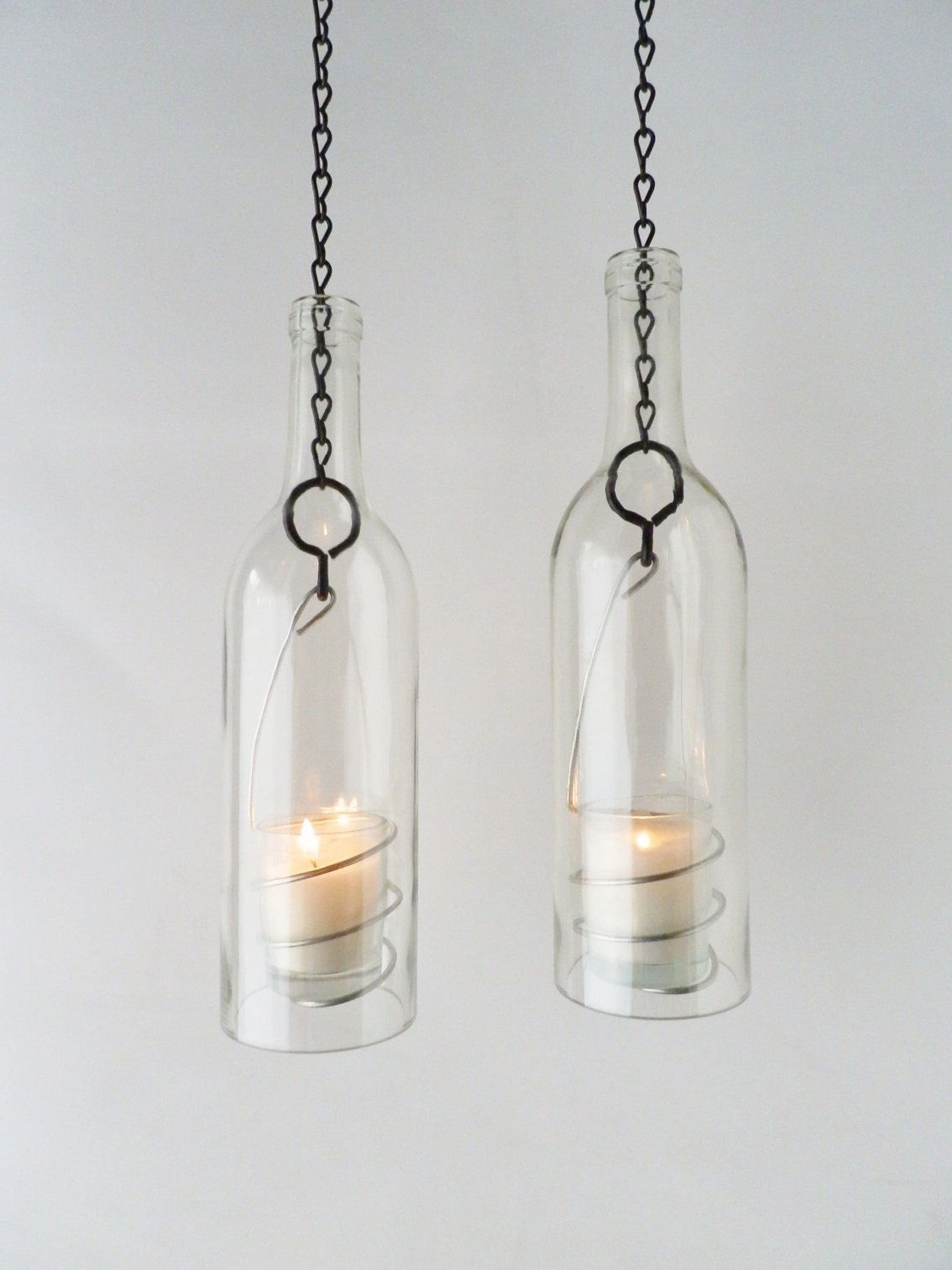 """Trendy Wine Bottle Candle Holder As Seen On The """"today Show"""" Hanging Regarding Etsy Outdoor Lanterns (View 10 of 20)"""