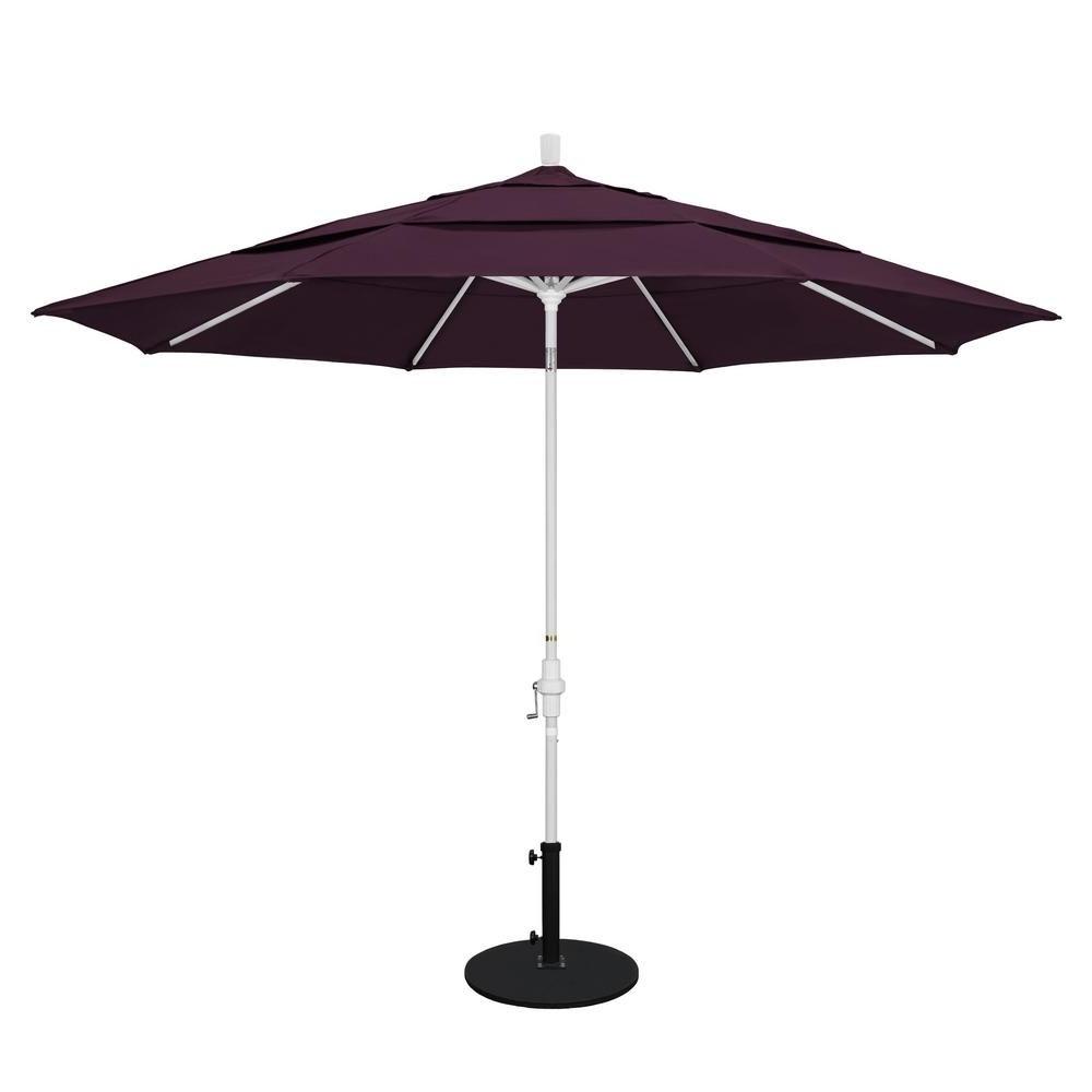 Vented Patio Umbrellas In Most Recent California Umbrella 11 Ft. Aluminum Collar Tilt Double Vented Patio (Gallery 6 of 20)