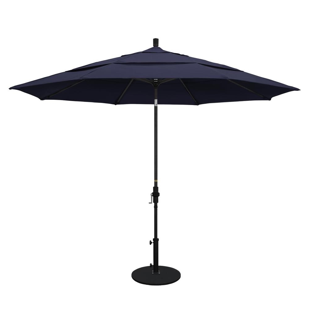 Vented Patio Umbrellas Throughout Favorite California Umbrella 11 Ft. Aluminum Collar Tilt Double Vented Patio (Gallery 2 of 20)