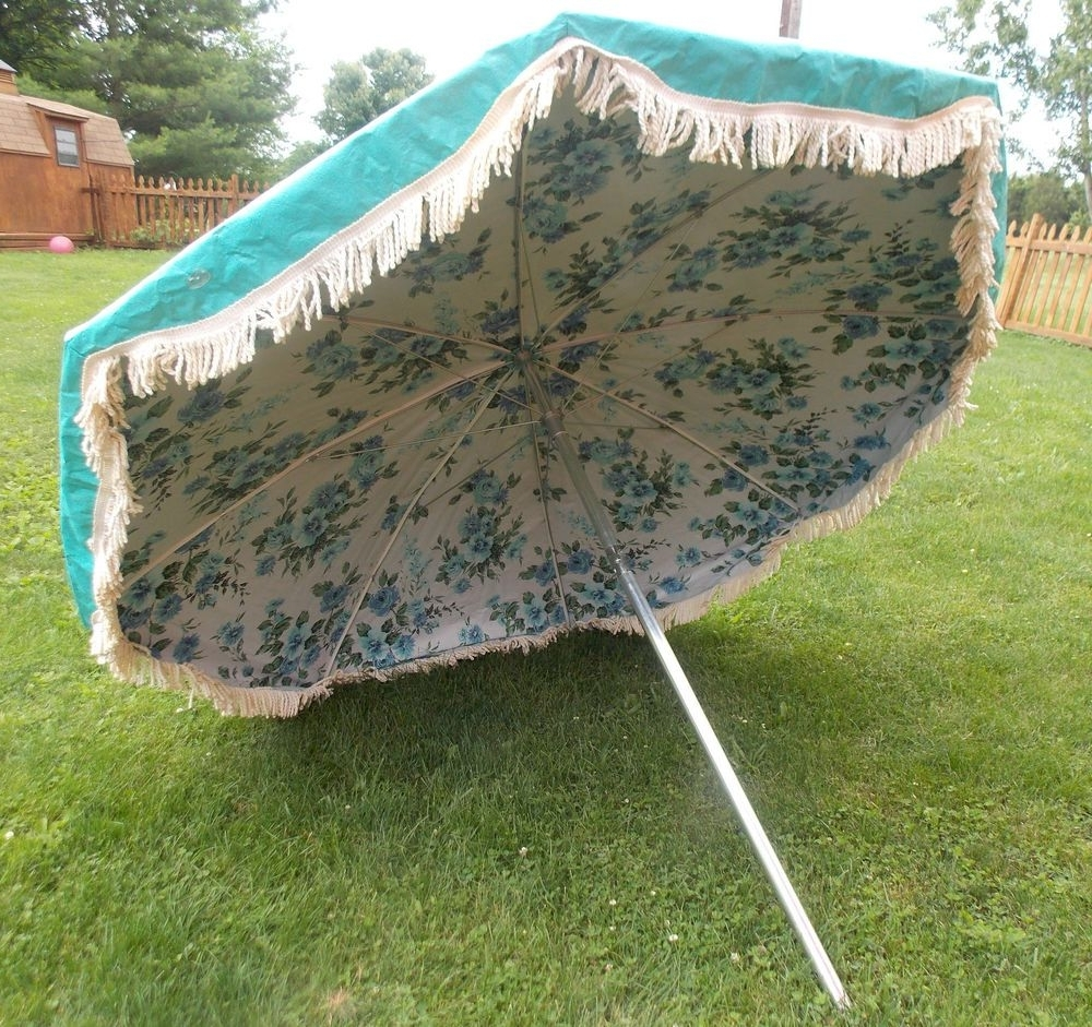 Vintage Midcentury 7Ft Finkel Floral Fringe Turquoise Patio Umbrella For Preferred Vinyl Patio Umbrellas With Fringe (Gallery 9 of 20)