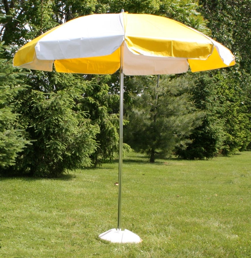 Vinyl Patio Umbrella, 7.5' W/tilt, Yellow & White Inside Newest Vinyl Patio Umbrellas (Gallery 1 of 20)