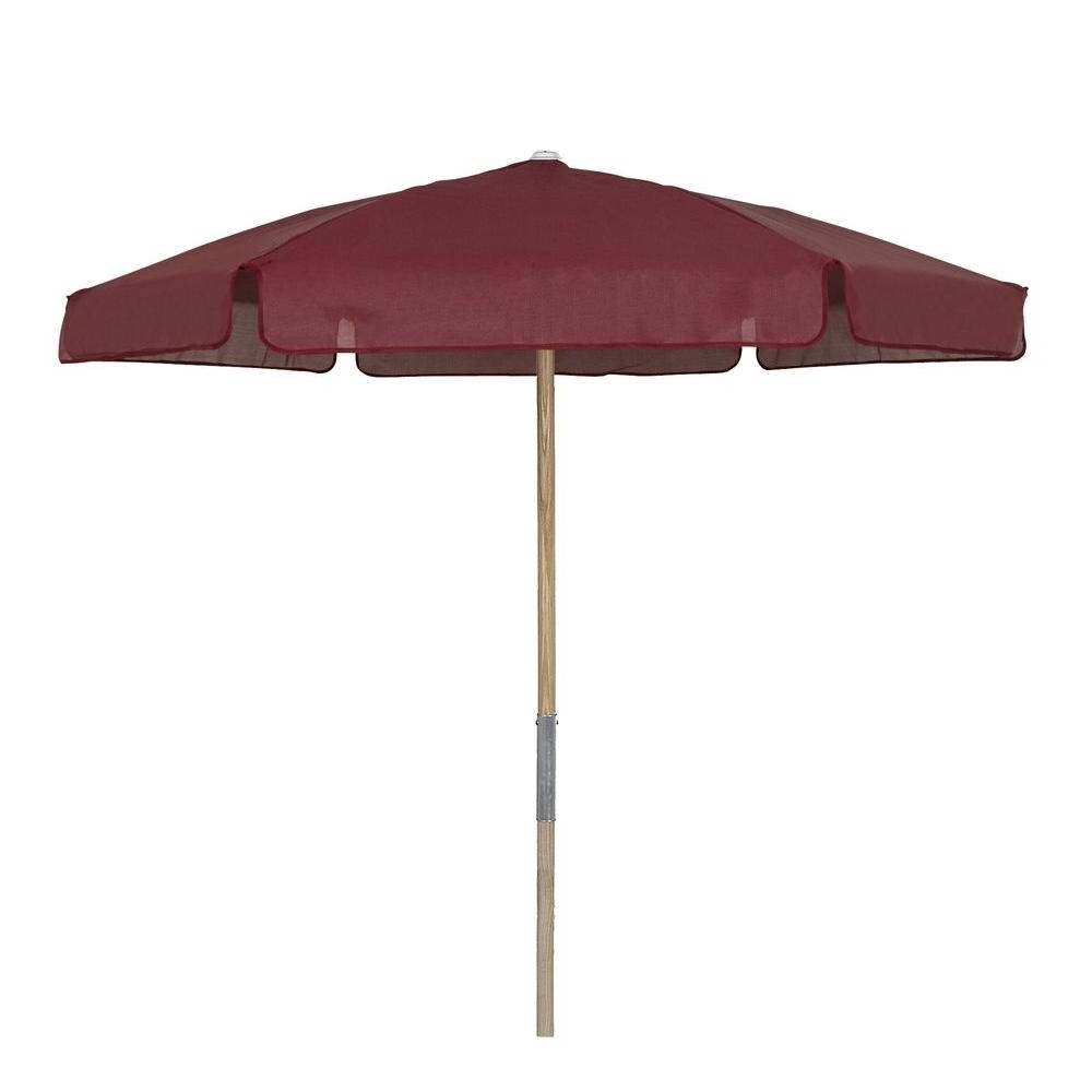 Vinyl Patio Umbrellas With Fashionable 7.5 Ft. Wood Beach Patio Umbrella With Burgundy Vinyl Coated Weave (Gallery 2 of 20)